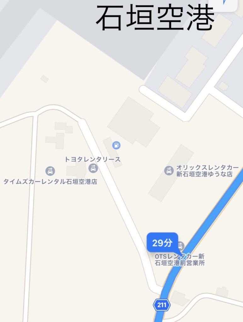 石垣空港 レンタカー会社 地図