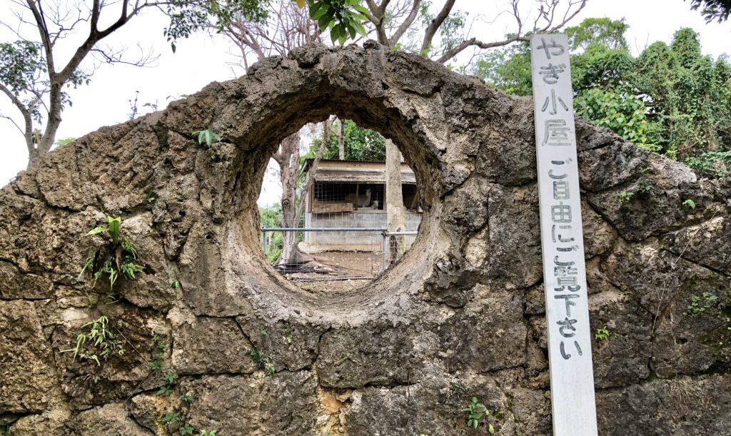 やぎ小屋を覗く穴
