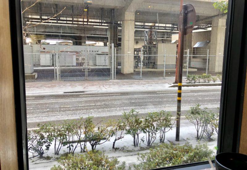 ルートイン金沢駅前 朝食カウンター席からの景色
