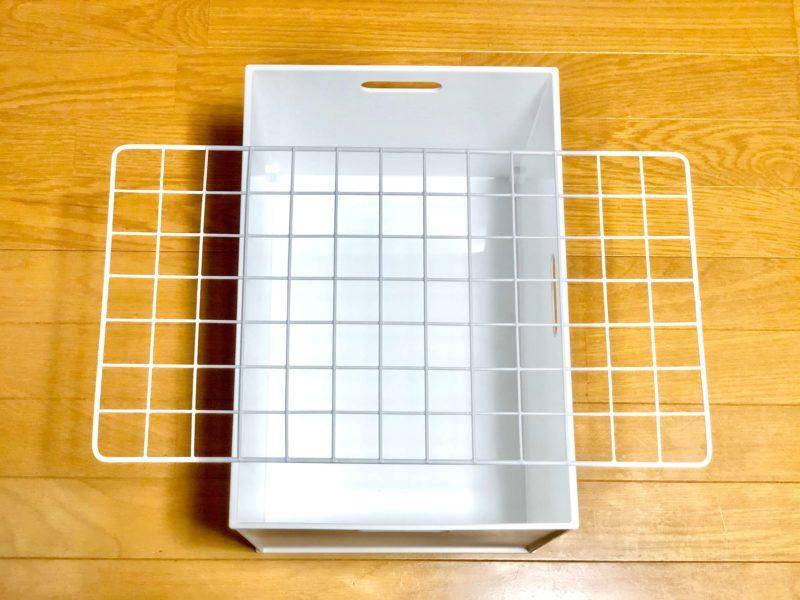 ニトリの収納ボックスと100均のワイヤーネット