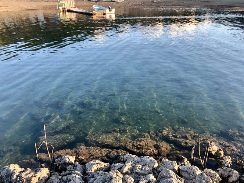 本栖湖の透き通った水
