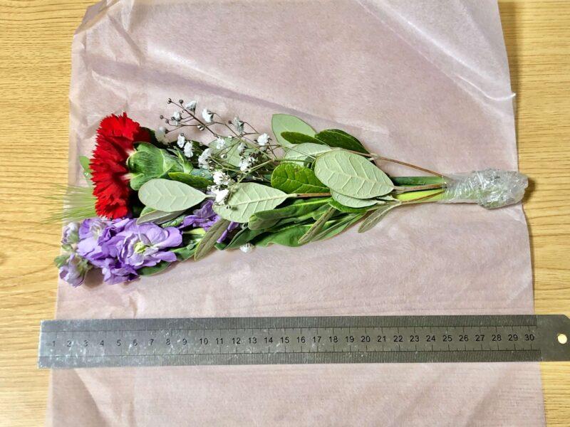 お花の定期便bloomee(ブルーミー)から届くお花の長さ